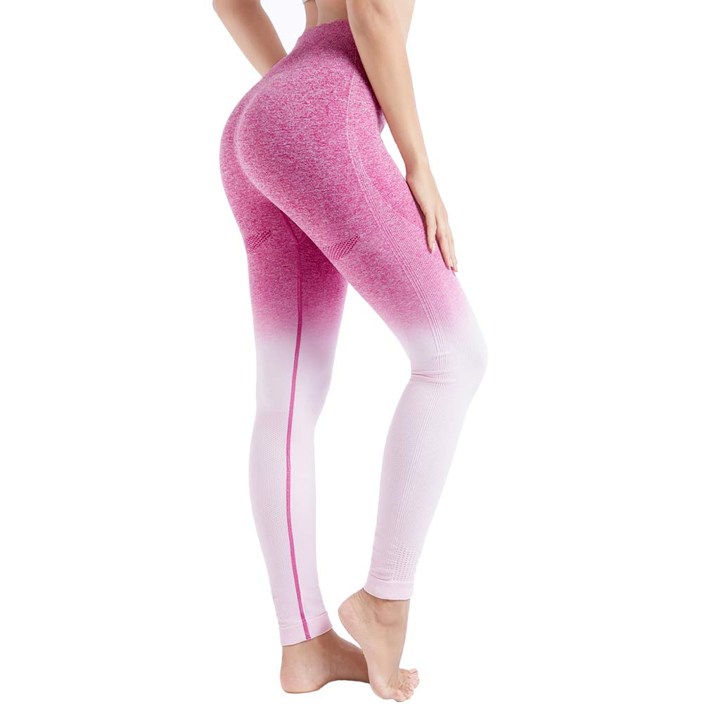 Aoxjox Yoga Pants for Women High Waisted Tummy Control Gym Sport Ombre Seamless Leggings (Chalk Pink/Beet, X-Small)