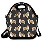 Neoprene Lunch Bag, Rough Collie Dog Insulated Lunch Box School Picnic Thermal Carrying Gourmet Food Container Organizer, Lunch Bags for Kids, Girls, Boys and Women 6