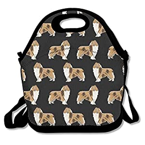 Neoprene Lunch Bag, Rough Collie Dog Insulated Lunch Box School Picnic Thermal Carrying Gourmet Food Container Organizer, Lunch Bags for Kids, Girls, Boys and Women 16
