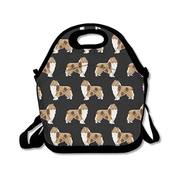 Neoprene Lunch Bag, Rough Collie Dog Insulated Lunch Box School Picnic Thermal Carrying Gourmet Food Container Organizer, Lunch Bags for Kids, Girls, Boys and Women 1
