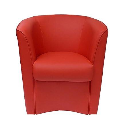 Totò Piccinni Poltrona a POZZETTO in Ecopelle Design   Alta QUALITA\'   Made  in Italy (Rosso)