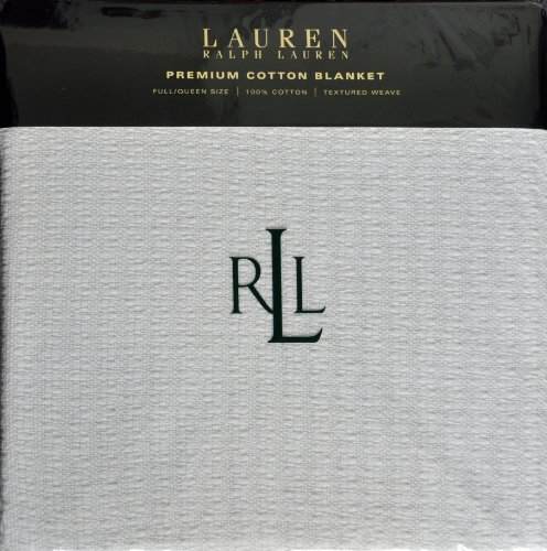 Lauren Ralph Lauren Classic Premium Cotton Blanket Full / Queen Size White Textured Weave (Lauren Ralph Quilts)
