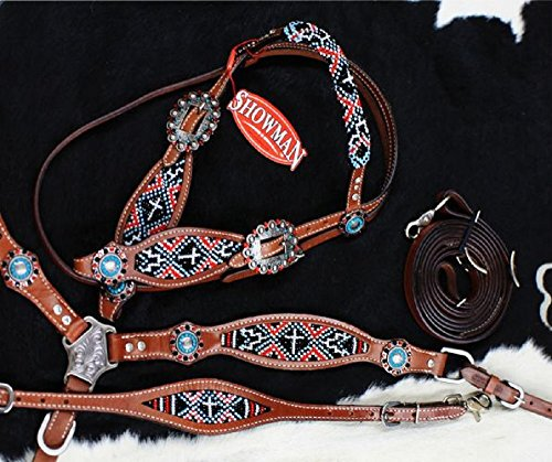 Showman 4 PC Red Black Cross Navajo Beaded Concho Leather Wither Strap Bridle Breast Collar Reins ()