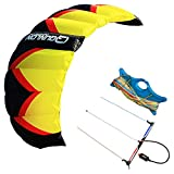 QUNLON CROM3 3-Line Control Traction Kite KIT Yellow Sport Power Kite Training Entry to Professional with Dyneema Kite Line and Handle Bar
