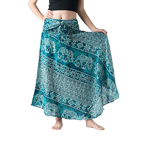 lotteQW Women Long Hippie Bohemian Gypsy Boho Flowers Elastic Waist Floral Halter Skirt Womens Dress
