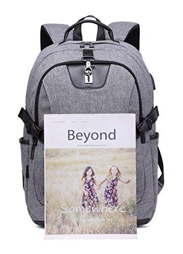 JINRUCHE Travel Laptop Backpack with USB Charging Port, Water Resistant Backpack for Men&Women, Notebook Computer Rucksack School Bag (Grey)