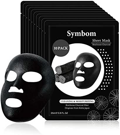 SYMBOM Natural Collagen Essence Face Mask Sheet,Deep Cleansing and Brightening Facial Mask,Moisturizing with Hyaluronic Acid Binchotan Charcoal Sheet Mask 10 Pack