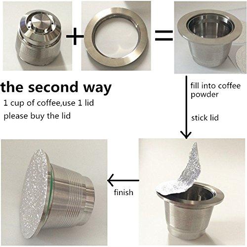 ... de usar adhesivo tapas Foli sellos (20 unidades) de recarga reusbale cápsula Compatible con Máquina de café Nespresso eléctrica: Amazon.es: Hogar