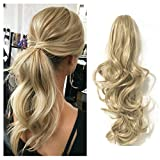FUT Womens Claw Ponytail Clip in Hair Extensions 18'' Long Curly Hairpiece