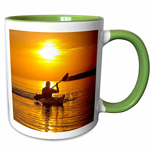 Sea Kayaking Lake Superior - 3dRose Danita Delimont - Kayaking - Kayak, Apostle Islands, Lake Superior, Wisconsin, USA - US50 CHA0064 - Chuck Haney - 11oz Two-Tone Green Mug (mug_148873_7)