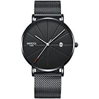 Watch VOEONS Slim Mens Watches, Analog Quartz Casual Black Wrist Watch for Men