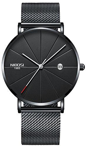 Watch VOEONS Slim Mens Watches, Analog Quartz Casual Black Wrist Watch for Men