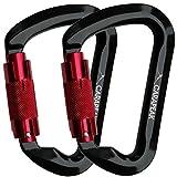 CARAPEAK 30kN Auto-Locking D Shaped Twist Lock Climbing 2 Pack Set Carabiner, Aluminum Self Locking Rock Climb Clip Black