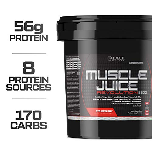 Ultimate Nutrition Muscle Juice Revolution Weight and Lean Muscle Mass Gainer Protein Powder with Glutamine, Micellar Casein and Time Release Complex Carbohydrates, Strawberry, 11.1 Pounds