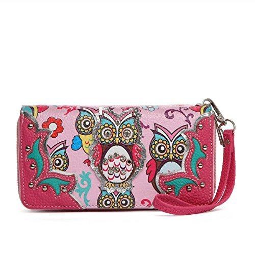 ti Colorful Owl Print Wristlet Wallet (Trendy Western Wallet)