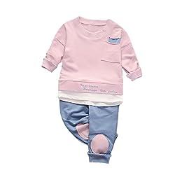 Kintaz Little Boys Girls Long Sleeve 2-Piece Clothing Sets (T-Shirt & Pant,6M -3T)