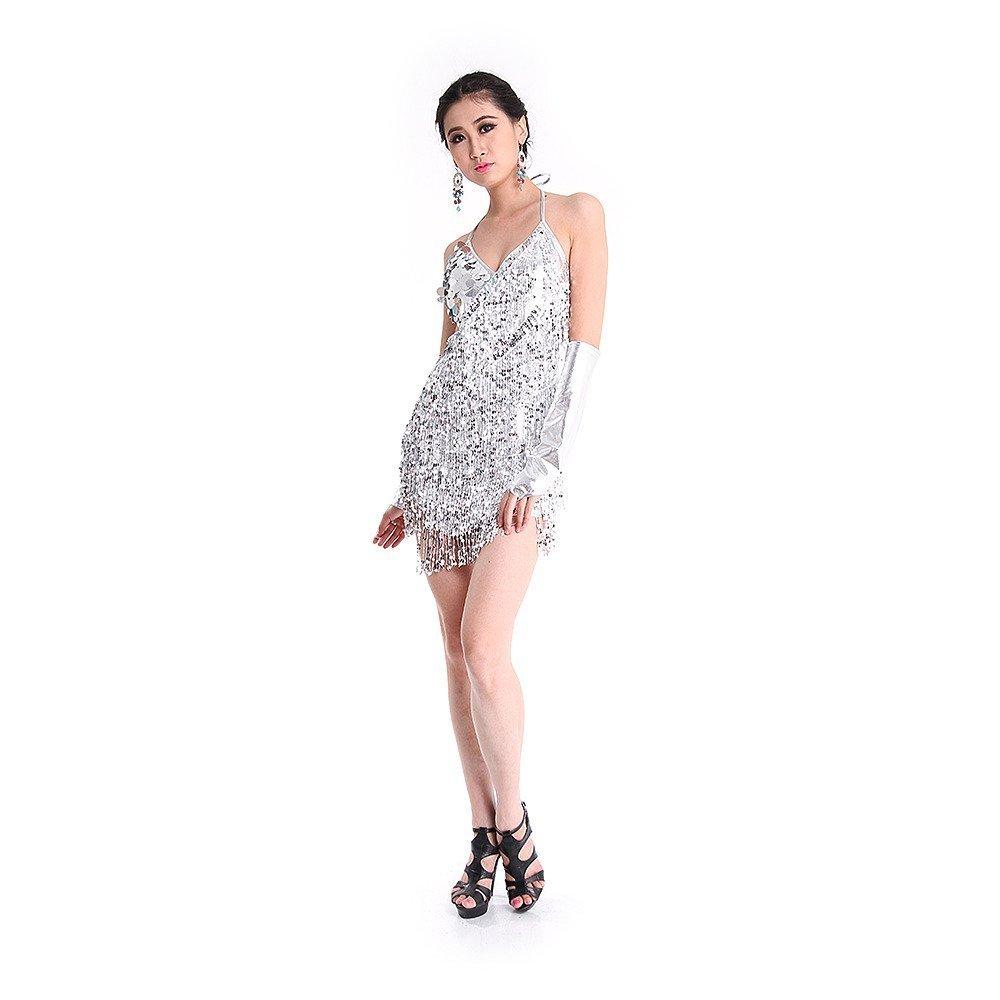 SymbolLife La Signora Latin Dance Costumes, Paillettes Tassel Latin Dance Abbigliamento,Dress Backless + Guanti Argento