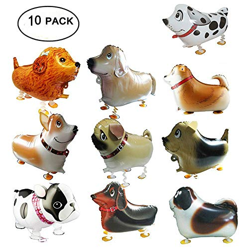 Walking Animal Balloons Pet Dog Balloons, 10PCS Puppy Dogs Birthday Party Supplies Animal Theme Balloons Toys Baby Puppy Gift Party Decorations -