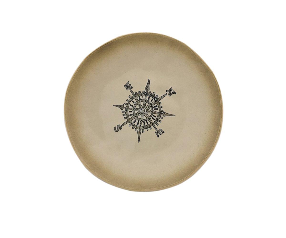 Blue Sky Ceramic 8.5'' Knotical Emblems Compass Salad Plate