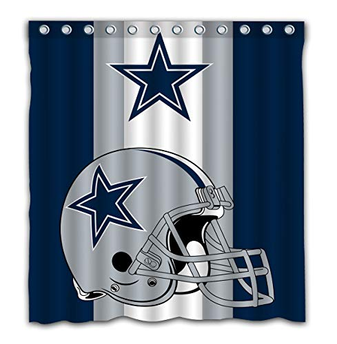 (Potteroy Dallas Cowboys Team Simple Design Shower Curtain Waterproof Polyester Fabric 66x72 Inches)
