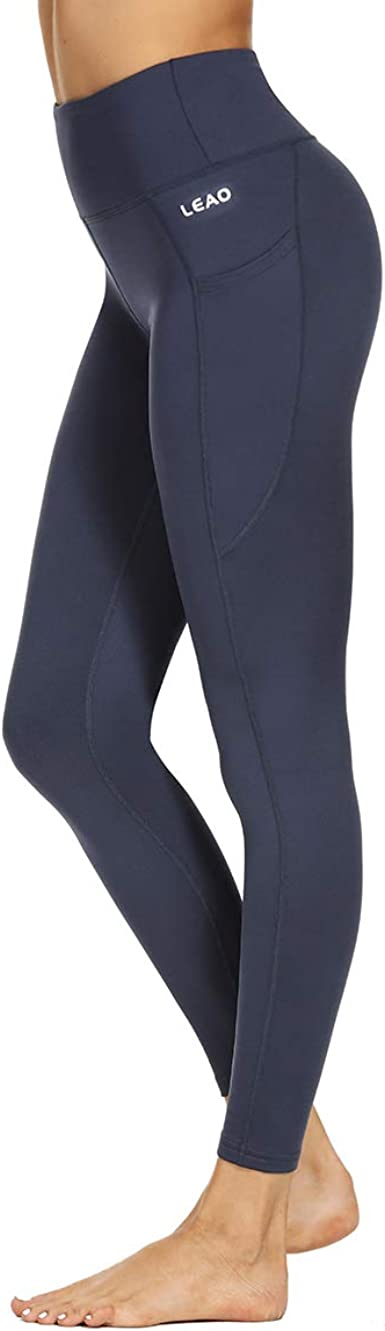 LEAO Womens Fleece Lined Leggings High Waist Yoga Pants Winter Thermal Leggings Side Pockets