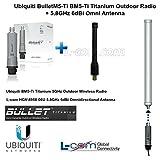 Ubiquiti BulletM5-Ti BM5-Ti Titanium Outdoor Radio + 5.8GHz 6dBi Omni Antenna
