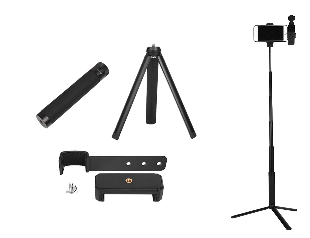 Tineer Smart Phone Stand Holder Bracket + Tripod Mount + Selfie Stick Extension Rod Set Accessories for DJI Osmo Pocket Handheld Gimbal Camera by Tineer