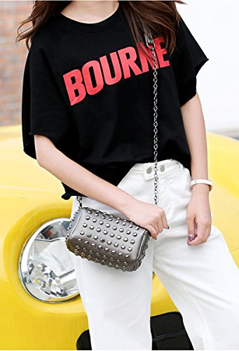 Strap Crossbody Pink Handbag Bag Tote All Studded Fashion over Chain Rivets with RnvqHYa