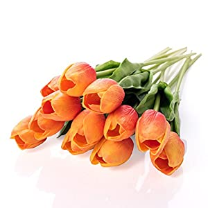 Shallylu Artificial Tulips, Premium Real Touch Tulip Flowers Fake Silk Flowers for Vases Wedding Bouquets Home Room Office Centerpiece Party Decoration 69