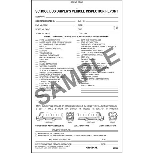 Detailed Driver's Vehicle Inspection Report - School Bus, Book Format - Stock (Qty: 10 Units)
