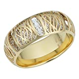 14k Two-Tone Gold Filigree Band Ring (7.3mm)