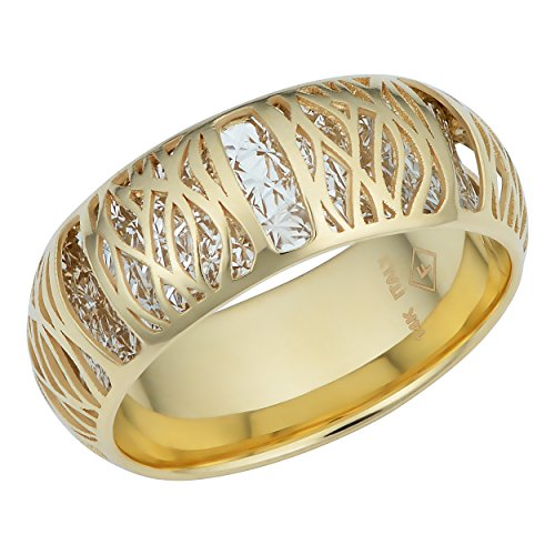 14k Two-Tone Gold Filigree Ban