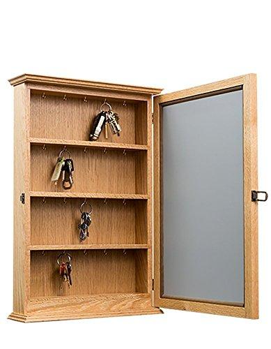 Key Cabinet- Wall Hanging With Mirror Door- Oak
