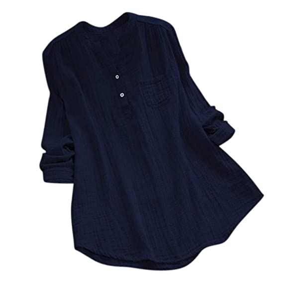 Manga Larga de Mujer Collar del Soporte Tops Sueltos Casuales de la túnica Camiseta Blusa ❤ Manadlian: Amazon.es: Ropa y accesorios