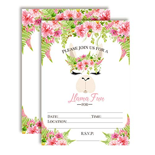 Llama Fun Watercolor Floral Llama Face with Pink Dahlias Birthday Party Invitations, 20 5
