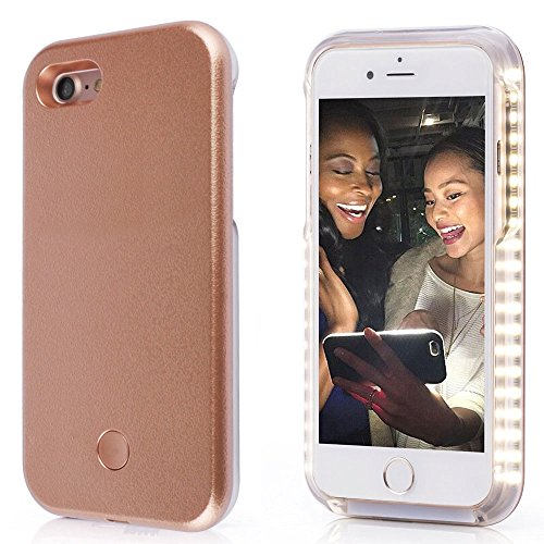 Spruce Selfie LED Light Case for Iphone 6/6s Cover with Rechargeable Backup Rose Gold