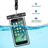 Mpow Universal Waterproof Case, IPX8 Waterproof Phone Pouch Dry Bag for iPhone7/7plus/6s/6/6s plus Samsung galaxy s8/s7 LG V20 Google Pixel HTC10 (Black 2-Pack)