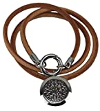 Genuine Leather Essential Oil Diffuser Necklace/Bracelet Wrap with Leakproof Locket - Hypoallergenic 316L Surgical Grade Stainless Steel 25mm Aromatherapy Jewelry 5 Reusable Pads, Microfiber Pouch)