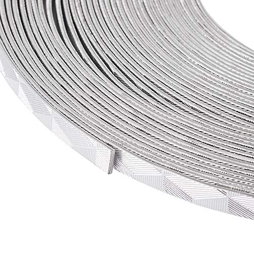 Kissitty 32.8 Feet/Roll 5mm Wide Decorative Silver Flat Jewelry Artistic Aluminum Wire 18 Gauge