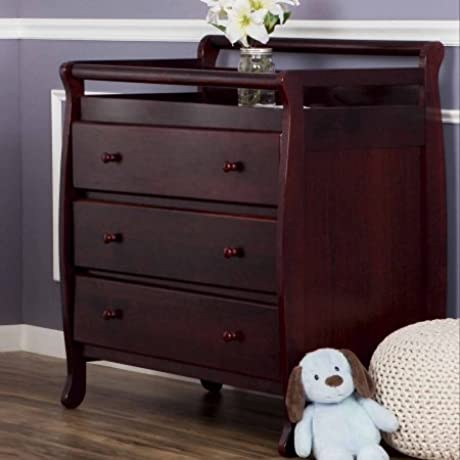 Wood Changing Table With Tree Drawers Open Shelving Changing Pad And Strap0 Nursery Furniture Wardrobe Children Bedroom Space Saver Multiple Colors BONUS E Book Cherry