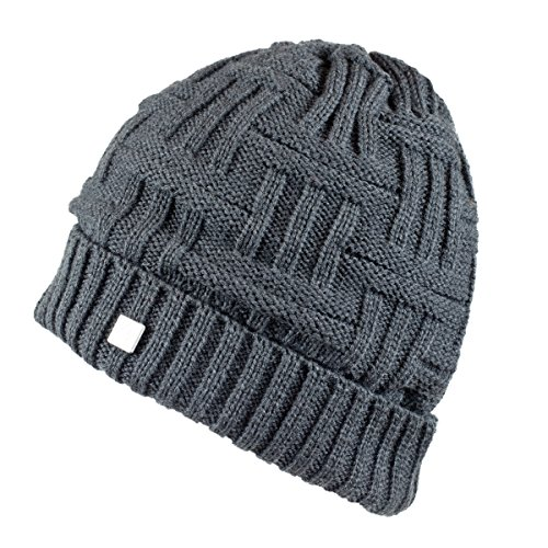 Olann Basket Weave Charcoal Grey Beanie - Irish Knit Thick Warm Winter Hat