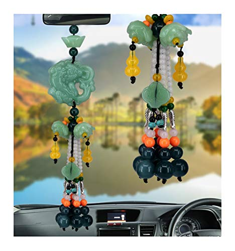Car Hanging Decoration, Dangling Ornaments Vehicle Accessory Rearview Mirror Charms Pendant Brave Troops Crystal Lotus Car Pendant Amulet Pray for Luck Safety ()