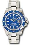Rolex Oyster Perpetual 40MM 18K White Gold Submariner Date Blue Time Lapse Cerachrom Bezel, Blue Dial, 8 Diamond Hour Markers, And Oyster Glidelock Bracelet.