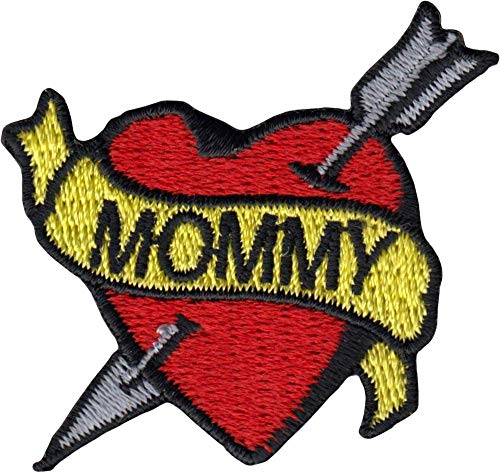 Mommy Banner on Red Heart with Arrow - Tattoo Style - Cut Out Embroidered Iron On or Sew On Patch -