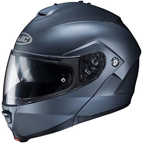 HJC Solid Men's IS-MAX 2 Modular Street Motorcycle Helmet - Semi Flat Anthracite / - Modular Helmet Blue Motorcycle