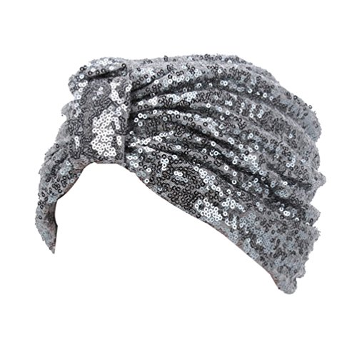 Twist Pleated Hair Wrap Stretch Turban S232 (Grey) ()