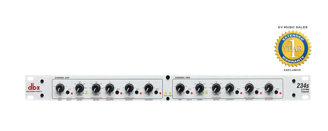 dbx 234s Stereo 2/3 Way, Mono 4-Way Crossover with 1 Year Free Extended Warranty