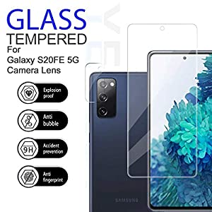 Galaxy S20 FE HD Clear Tempered Glass Screen Protector + Camera Lens Protectors by YEYEBF, [2+2 Pack] [3D Glass] [Anti-Glare] [Bubble-Free] Screen Protector Glass for Samsung Galaxy S20 FE (Color: Samsung Galaxy S20 FE)
