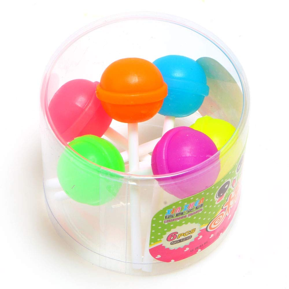 PINBLACOM Eraser - 12Pcs/lot Creative Sweet Candy Lolipop Eraser School Office Supplies Gifts for Kids