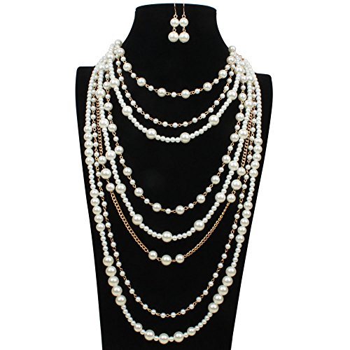 Karen accessories Multilayer Strand Simulated Pearl Statement Necklace and Earrings Set Multistrand Long Sweater Beaded Necklace (4 Strand Necklace Earrings)